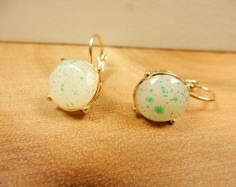 Clip Ons, Turquoise Earrings, 18k Gold Plated, Clip On Earrings