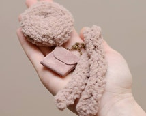 Dolls accessories set - cloth dolls accessories - handmade doll clothes - fabric dolls knitted scarf - rag dolls knitted hat- dolls handbag