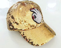 Gold Shiny Sequin Baseball Cap Hat with Hand Beaded OKAY Hand Patch -- One Size