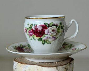 Vintage, Teacup and Saucer,Baum Bros,Fine Bohemian China,Czech Republic,Rose tea cup