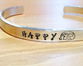 Customize Hand Stamped Happy Camper Boho Trailer Adjustable Cuff Bracelet