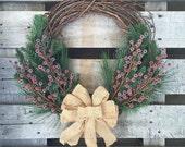 Evergreen Daydream Wreath, Winter Wreath, Holiday Wreath, Green Wreath, Rustic Wreath, Christmas Wreath, Grapevine Wreath, Wreath