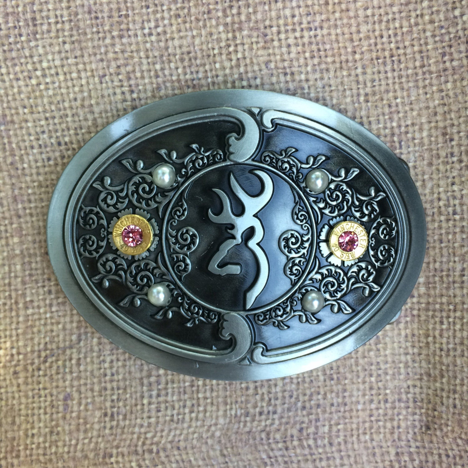 pink and pearl browning belt buckle