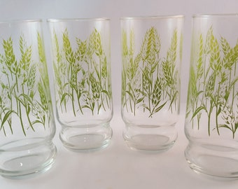 SALE - Libbey Green Wheat Drinking Glasses - Set of 4