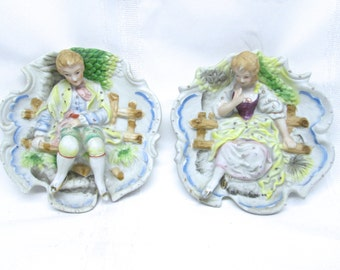 Vintage 3D Porcelain Set of 2 Hand Painted Victorian Wall Plaques with 24K Gold Accents - Made in Japan