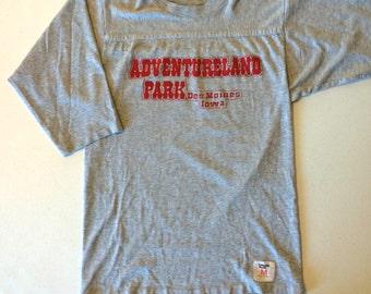 Adventureland Park Des Moines Iowa Jersey T Shirt Gray 70's Made in USA M Medium