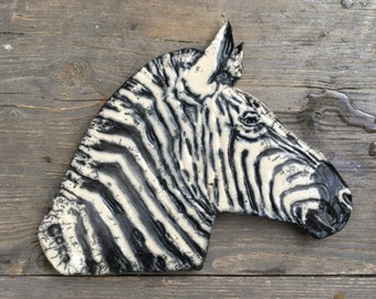 Ceramic raku Bas relief Zebra, wall decoration