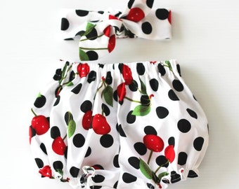 Baby Girl Clothes, Baby Girl Outfit, Clothing Set,  Red Cherries Baby Bloomers Set, Baby Girl Headband, Baby Bloomers, Baby Clothing