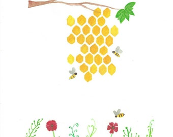 Instant bee hive yellow printable wall art painting