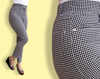 90s does 50s Pants - High Waist Capri Pants - Bombshell Gingham Rockabilly Pin-up Pants - Black and White Checked Skinny Cigarette Pants