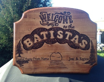 Welcome, welcome sign, welcome plaque, cottage sign ,summer camp sign, engraved wood sign, wood sign, home away from home sign, welcome to