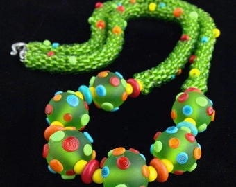 Lime green juicy fruit necklace