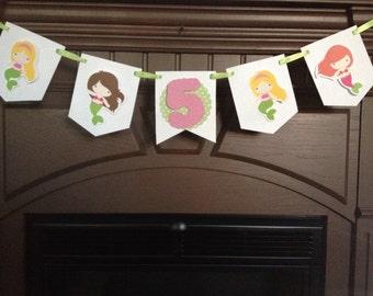 Mermaid Birthday Party Mini Banner