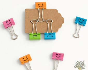 SALE Three Smiley Face Binder Clips, planner clips, filofax clips, file clips, colourful binder clips, cute binder clips