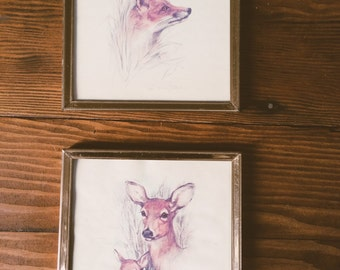 Set of 2 Vintage Framed Woodland Critter Illustrations
