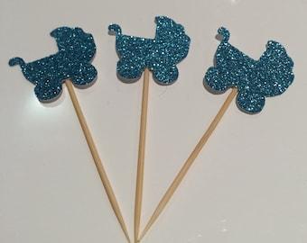 12 x Sparkling pram cupcake toppers