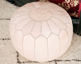 Premium Handmade Leather Moroccan Pouf Ottoman Footstool Hassock Natural Undyed