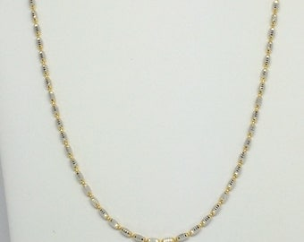 18K Two-Tone Gold Diamond Cut Beads Chain