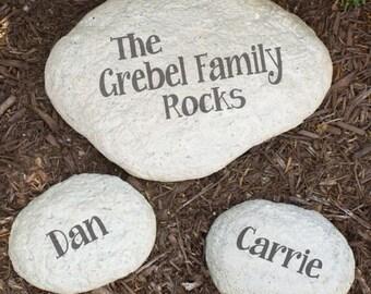 Personalized Family Garden Stone The Family Rocks Engraved Family Name LARGE Decorative Garden Stone