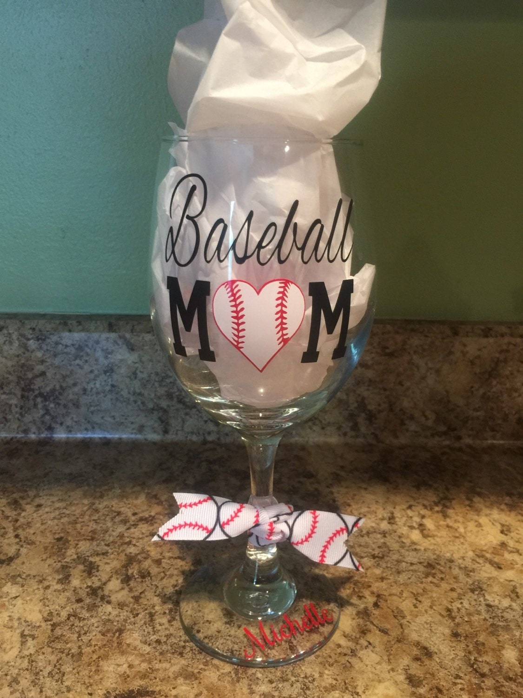 Baseball Mom Wine Glass W Decorative Vinyl