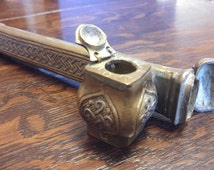 Antique Travelling Inkwell or Bronze Qajar Pen Holder Case Scribe Tool Indo-Persian Islamic Desk Set