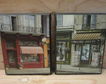 "Set of Two Scott Steele French Street Scenes Wall Art * Librairie Jouets and Henry Trompier * 10"" x 8"""