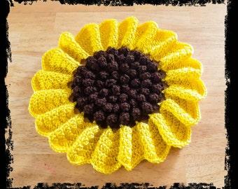 Crochet Sunflower Potholder, handmade, home decor