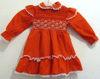 25% 0FF Sale!!A Baby Girl's ADORABLE Vintage 70's,Red AMISH/PRAIRIE Type Dress By Polly Finders.2 T