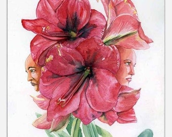 Lilies - printing glicée of flowers in watercolor.