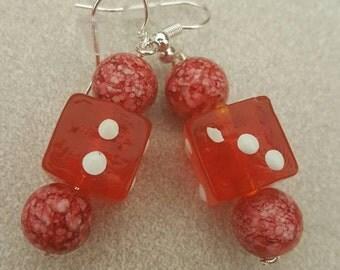 Red glass dice earrings