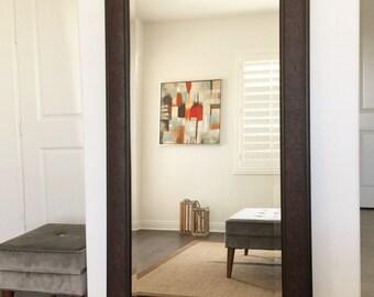 "Marcello Full Floor Rustic Walnut Brown Mirror 32"" x 68"""