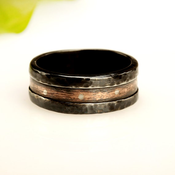 Rustic copper mens ring mens wedding band 8mm by abimjewelry for Mens copper wedding rings
