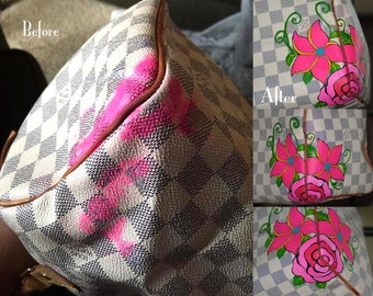 Personalized custom hand painted LV purse