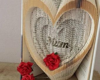 Mum in heart  - measure and mark cutandfold