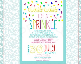 Baby Sprinkle Invitation; Digital File; Printable