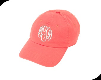 Monogram Baseball Hats/Caps-Coral