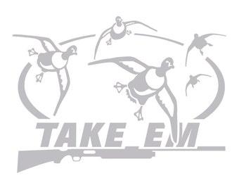 Take Em Duck Hunting Decal Pintail Duck HI-26