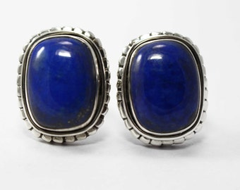 Lapis Lazuli Cufflinks 925 Sterling Silver Blue Handmade Mens Jewellery by AmoreIndia C324