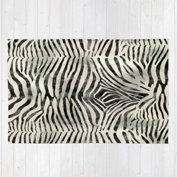 Rug. Animal Print Rug. Zebra Print Rug. Black By