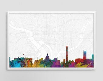 Washington DC Cityscape and Street Map Watercolor Art Print Office or Home Wall Decor