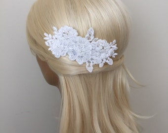Bridal Hair Accessories, Wedding Head Piece, Off White Lace, Pearl, Comb