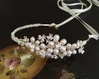 Wedding Headband, Ivory Bridal Hair Accessories, Wedding Headpiece, Pearl, Rhinestone, Silver
