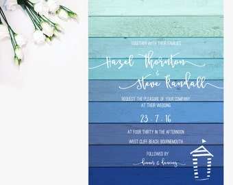 Blue Ombre Beach Hut Inspired Wedding Invitation & RSVP
