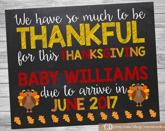 Thanksgiving Pregnancy Announcement / Printable Chalkboard / Thanksgiving Pregnancy / Thankful / Pregnancy Sign / Digital File