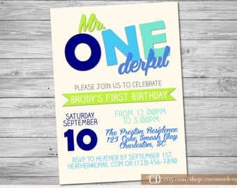 Mr. ONEderful Invitation / First Birthday / Boy First Birthday / Onederful Invite / Digital File / Boy First Birthday Invitation