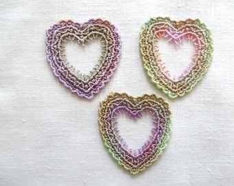 Hand Dyed Heart Open Center Applique Venise Lace 6013D