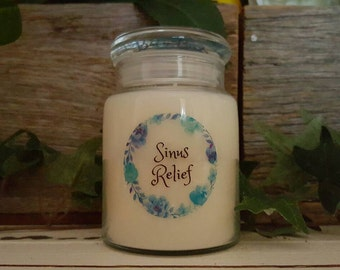 Sinus Relief Soy Candle - Hand Poured, Sml Apothecary Jar, Melbourne Made