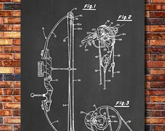 Compound Bow Patent Print Art 1987