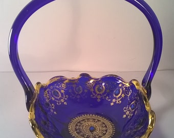 Vintage Gold Trim Italian Cobalt Blue Glass Basket