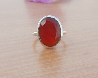 Natural Carnelian Gemstone Gift Ring | Bezel Artisan Gift Ring | Carnelian 925 Sterling Silver Ring |Birthstone Ring Size 8